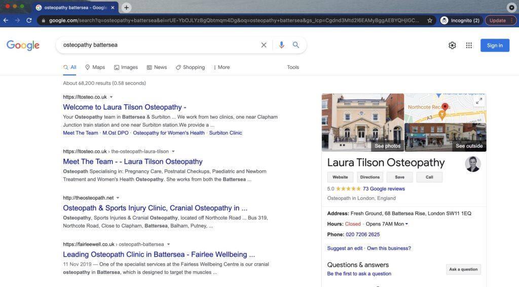 LT Osteo First on Google
